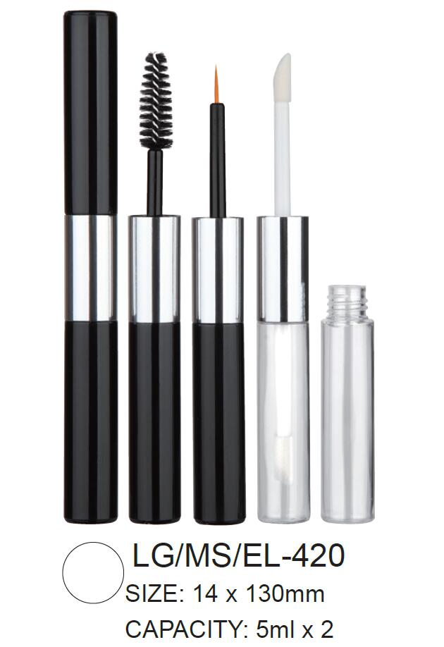 Dual Head Plastic Round Cosmetic Lipgloss/Mascara/Eyeliner Container