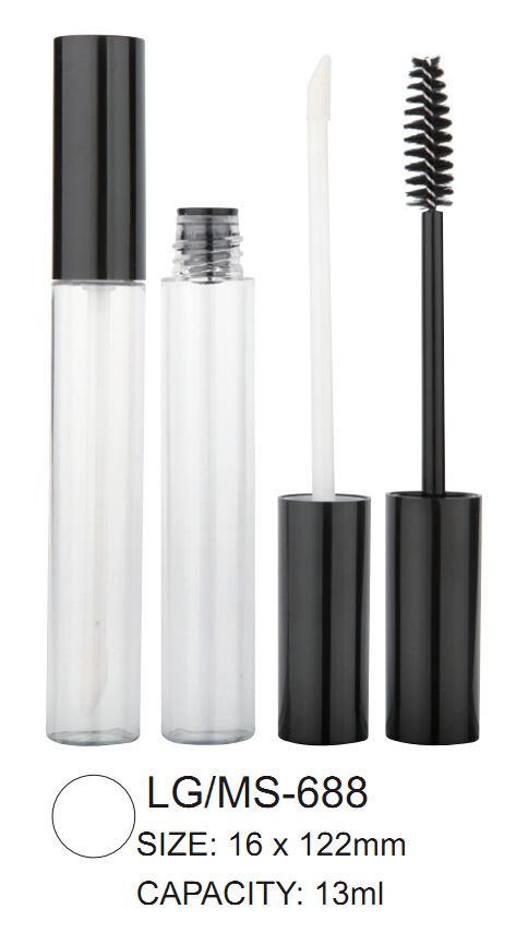 Empty Round Lip Gloss Mascara bottle with lipstick tube